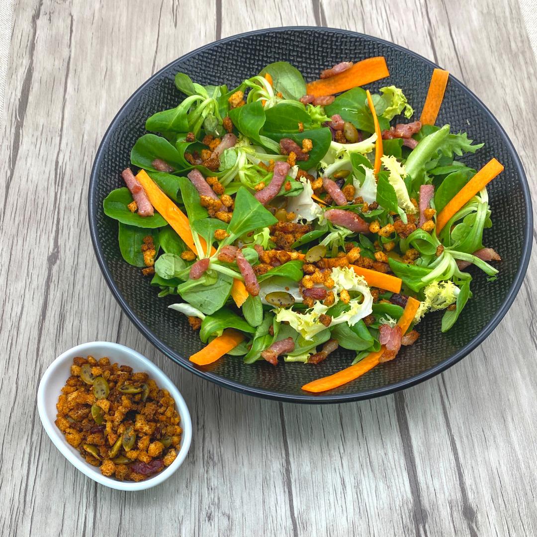 Salade avec du croc salade doux fruité aux graines de courge Georges Colin
