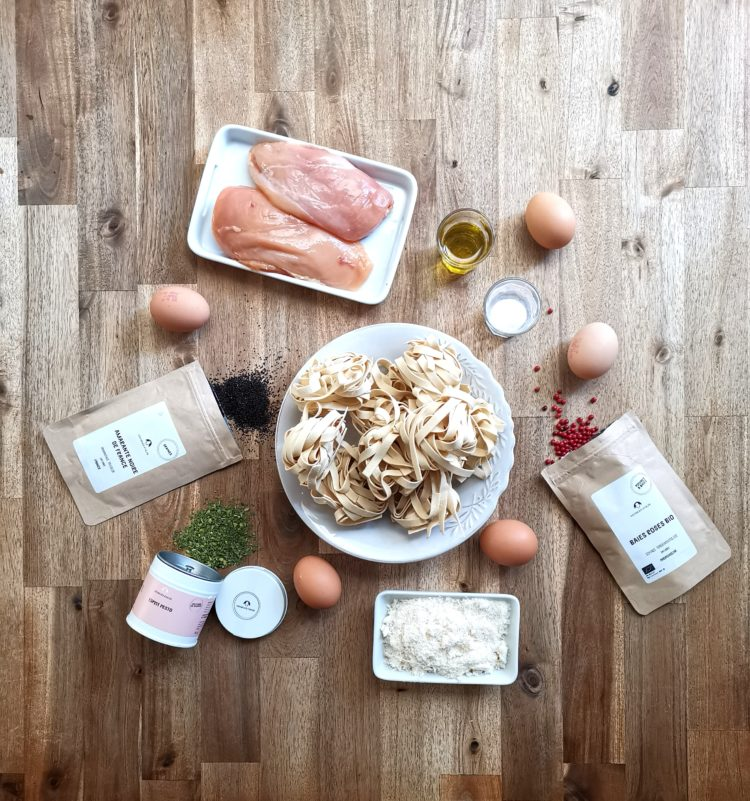 Ingrédients tagliatelles au poulet et pesto Georges Colin