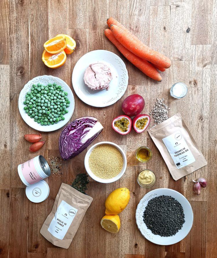 Ingrédients recette poke bowl aux légumes, thon et basilic de France Georges Colin