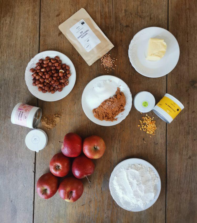 ingrédients pour Crumble Georges loves Strasbourg, pommes, noisettes et kasha Bio